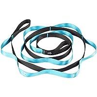 yogibare estiramiento correa con trabillas de numerados para progresión y asistencia con movilidad y flexibilidad, azul