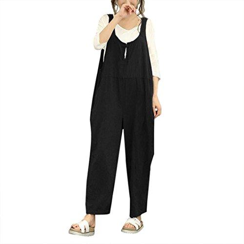 Kobay Women Playsuit Pants, Sleeveless Dungarees Loose Cotton Long Playsuit Jumpsuit Pants Trousers