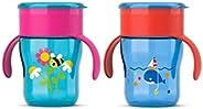 Philips Avent 9430257 Truman Desenli Magic Alıştırma Bardağı, 260Ml, Mavi/Pembe