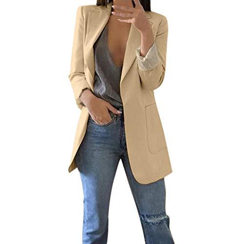 3 Tasche Blazer (Jacke Damen, GJKK Einfarbig Cardigan Mantel Elegante Festliche Strickjacke mit Taschen Elegant Blazer Anzug lange Schlank Bluse Mantel Langarm)