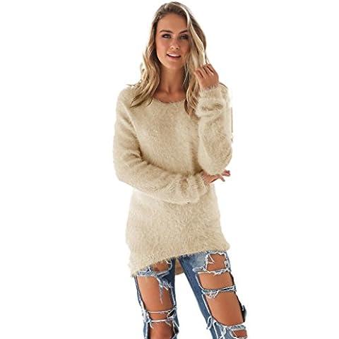 Internet Femmes à manches longues occasionnels chandails solide cavalier Polyester pull chemisier Automne-hiver (3XL, Beige)