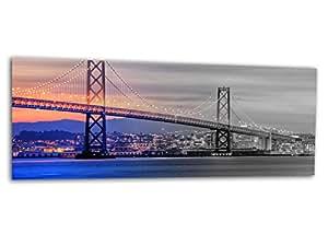 XXL verre d'impression / image tableaux BRIDGE SAN FRANCISCO AG312500584 Wall deco 125 x 50 cm Deco Glass, Design & Handmade