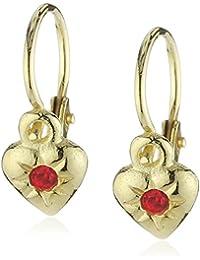 Zeeme For Kids 371330521 - Pendientes de mujer de oro amarillo (8k) con 2 circonitas