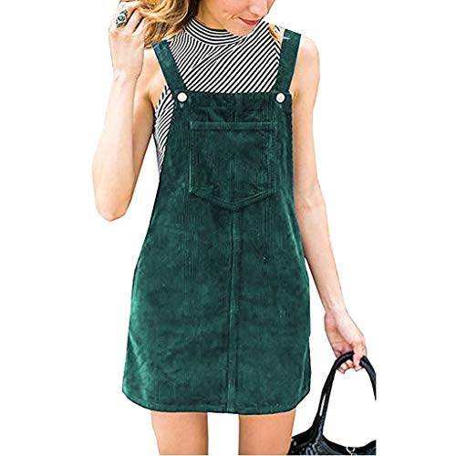 KPILP Frauen Trägerkleid Cordhose Gerade Trägerhose Retro Elegant Mini Trägerhose Pinafore Casual Pocket Dress(Grün,EU-46/CN-XL)