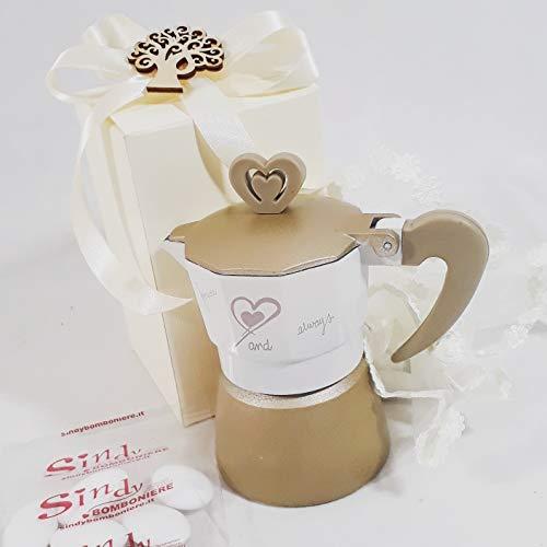 Sindy bomboniere bomboniera utile caffettiera matrimonio con con cuore (kit confezionamento)
