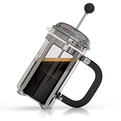 InstaCuppa French Press Coffee Espresso Tea Maker 600 ml, 3 Part Superior Filter BPA Free Borosilicate Glass Carafe Heat Resistant Handle Easy To Clean Dishwasher Safe