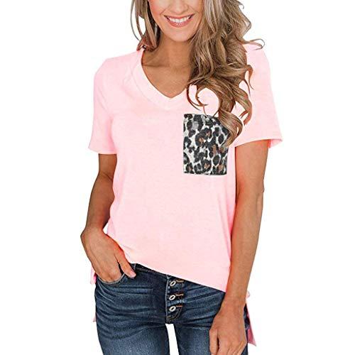 ❤Inawayls Damen T-Shirt Sommer Lose Kurzarm V-Ausschnitt Oberteile Bluse TunikaTops mit Leopard-Druck Tasche -