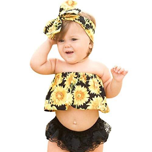 Allegorly Kleinkind Baby Kinder Mädchen Bekleidungssets 3 Stück Tops Sonnenblumendruck Ärmellos Schulterfreies T-Shirt Rüschen Oberteil +Spitze Quaste Shorts Hosen +Haarband Kleidung Outfits Set