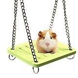 KOBWA - Hamaca para Colgar con Campana para Mascotas, Juguetes de Escalada, Hamaca, Cadena Ajustable para el ratón, Chinchilla, Rata, gerbíl y hámster