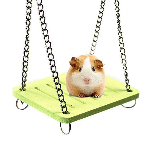AOLVO Dwarf Hamster Toys, Colored Swing/Hamaca/casa/esconder/Cama con Campana para hámster Sirio, Jaula Grande, Accesorios de hábitat para Erizo, cobaya, Guante de azúcar, Chinchilla - Azul