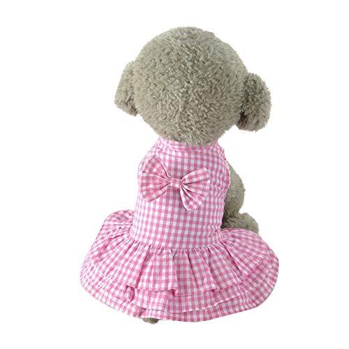 EUZeo Cute Sweet Pet Puppy Dog Bekleidung Lovely Kleidung Hündchen Kätzchen Haustierkleidung kurzes Rockkleid Kleiner Hund Kleine Katze Plaid Blusekleider Pullover Dress Mini Kleider