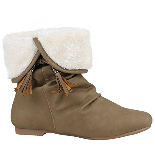 214d20499a23bc Stiefelparadies Damen Leicht Gefütterte Stiefel Schlupfstiefel  Wildleder-Optik Stiefeletten Metallic Wedges Boots Keilabsatz Schuhe  Flandell