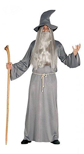 rren-Kostüm Graues Gewand Hut Gürtel Zauberer Hexer Magier, Größe:L ()