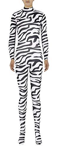 Icegrey Zentai Spandex Ganzkörperanzug Anzug Lycra Bodysuits Kostüm Zebra-Erwachsener halber Reißverschluss S