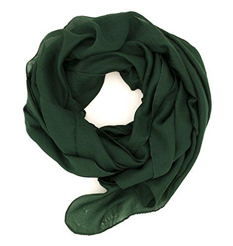 WILD CAT Damen Schal Halstuch Tuch aus Chiffon für Frühling Sommer Ganzjährig (Dunkelgrün)
