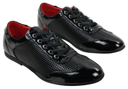 Chaussures homme lacets en marron ou noir cuir PU simili verni style chic décontracté noir (carré dots conception)