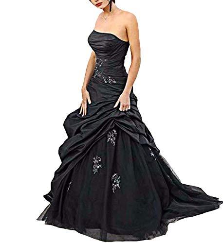 O.D.W Damen Lange A-Linie Traegerlos Gothic Brautkleider Vintage Hochzeitskleider(Schwarz, 42)