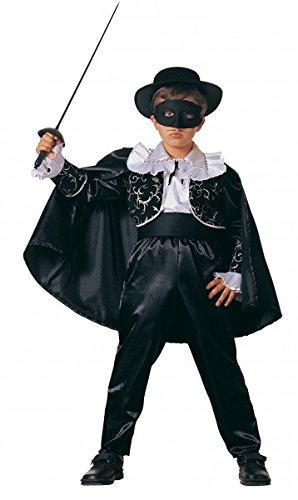 Premium Zorro-Kostüm für Jungen mit Hut, Gürtel und Stulpen | Hochwertiges Karnevals-Kostüm / Faschings-Kostüm / Kinderkostüm | Perfekte Reiter der Nacht Verkleidung für Karneval, Fasching, Fastnacht (Größe: (Zorro Kostüme Maske)