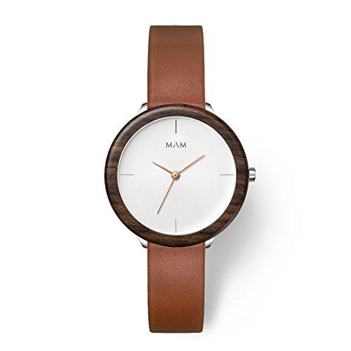 MAM Originals Damen Uhr Analog Japanisches Quarzwerk mit Leder Armband Stainless Light Teak Fauve