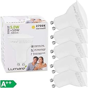 Lumare LED Spot GU10 5W | Ersetzt 50W Lampe | 520 Lumen 2700 Kelvin | Energiesparlampe Ersatzlampe | warmweiss 5er Set