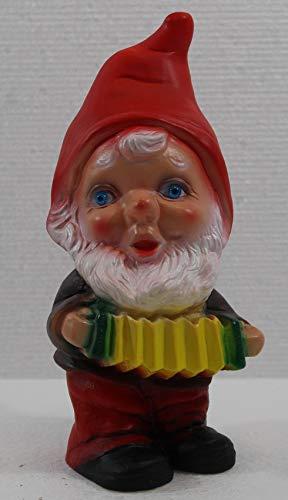 RAKSO Deko Figur Zwerg H 19 cm Gartenzwerg Musiker mit Harmonika stehend Gartenfigur aus Kunststoff