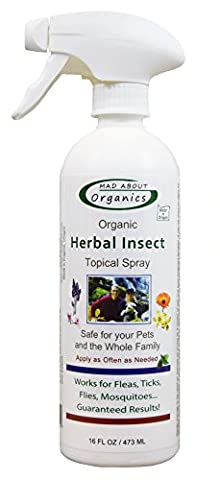 Mad About Organics All Natural Dog Cat Pet Insect Flea & Tick Topical Spray 16oz