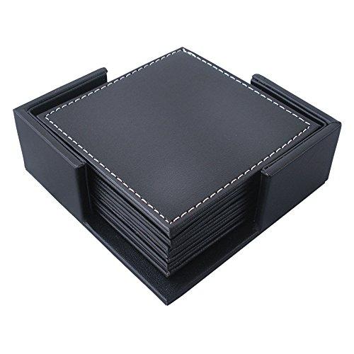 Godagoda Lot de 6pcs de Dessous-de-Verre Table Isolation Thermique PU Cuir Antidérapage Résistant aux Taches Durable Moderne