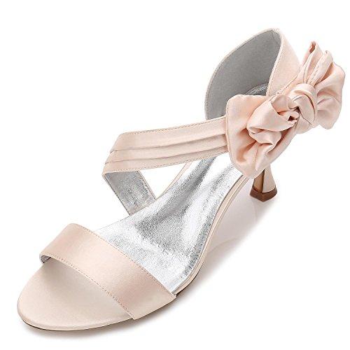 L@YC Damen-Hochzeits-Schuhe R17061-50 Offene Zehe-Grundlegende Pumpen-Elastische Mittlere Schmetterlings-Brautschuhe, champagne, 37 (Helle Grün-pumpen)