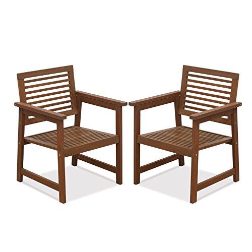 Furinno Laptoptisch Tioman Teak Hartholz Outdoor Sessel ohne Kissen, fg161249r Set von Zwei - Teak Patio Möbel-sets