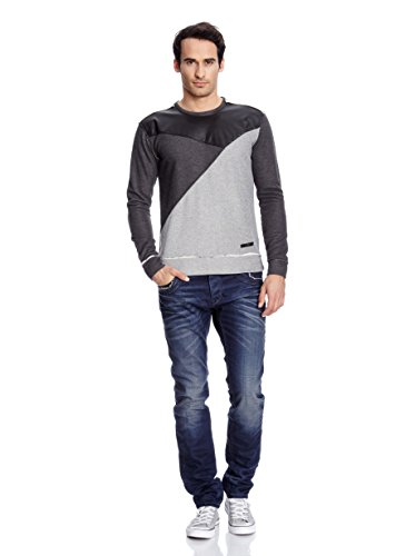 Redbridge Herren Vintage Look 2-Color-Style Pullover RB-41353 Grau