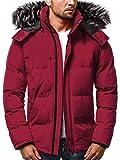 OZONEE Herren Winterjacke Parka Jacke Kapuzenjacke Wärmejacke Wintermantel Coat Wärmemantel Warm Modern Täglichen 777/200K WEINROT XL