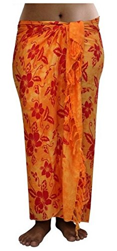 ca.100 Modelle im Shop Sarong Strandtuch Pareo Wickelrock Loop orange rot Sar50
