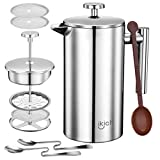 Topelek Cafetiere, French Press with Stainless Steel,Double Wall Coffee Maker, 1 Measuring Scoop, 2 Filter Screen, Trip, Home, Office