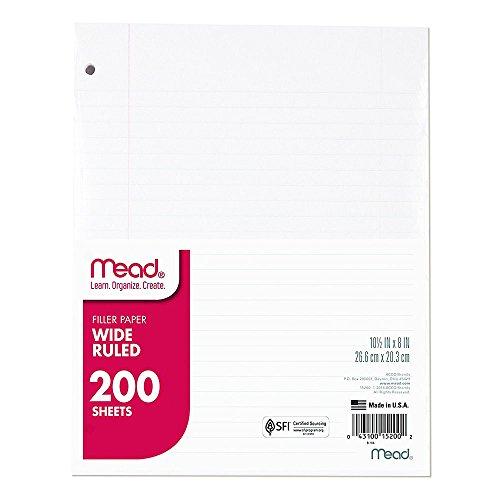 Mead Filler Papier, Loose Leaf Papier, College liniert, 200Blatt/Pack (17208) Breit liniert 1 Pack weiß (Mead Notebook Binder)