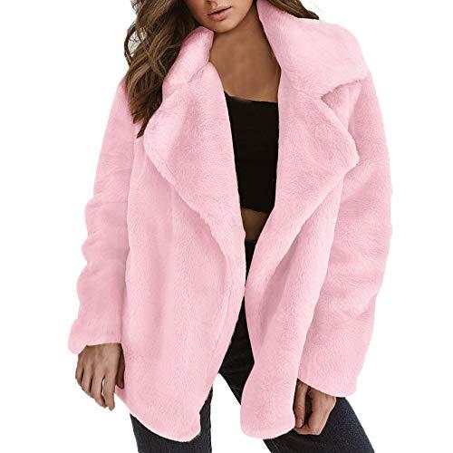 Mantel Damen feiXIANG lose Beiläufig Dickere Jacke Winter Frau warme Große Größe Oberbekleidung(Rosa,M)