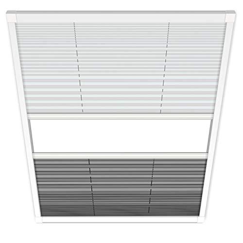 1PLUS Fliegengitter Plissee für Dachfenster Insektenschutz Dachfensterplissee in weiß in verschiedenen Größen und Varianten (134 cm breit, Duo-Plissee)
