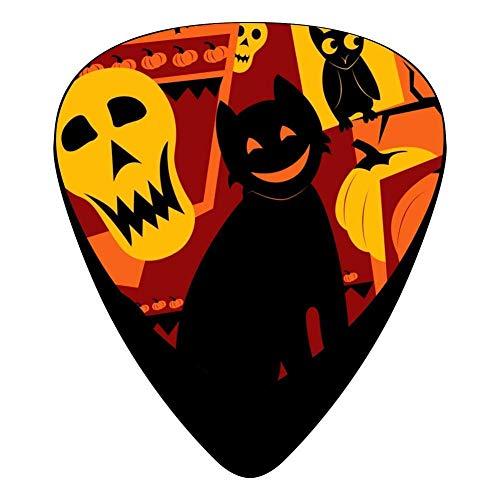 Halloween Cat Pumpkin Lantern Celluloid Electric Guitar Picks 12-pack