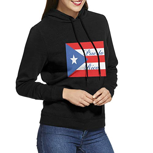 Eamibay Puerto Rico Long Sleeve Women's Hoodie Sweatshirt Drawstring Hooded Pullover Tops Blouses Black M