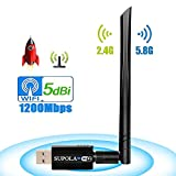SUPOLA USB WiFi Adaptador 1200Mbps, WiFi Antena 5dbi USB 3.0 Wireless Adaptador Dual Band 2.4GHz/5.8GHz 802.11ac para PC/Laptop,Receptor Wifi USB Soporte Windows10/8/8.1/7/Vista/XP/MacOSX10.5-10.13