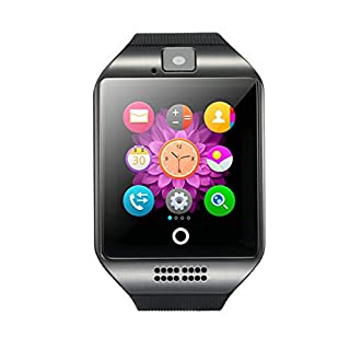 1.54 Inch Bluetooth SmartWatch Q18 Wristwatch Support NFC Camera TF Card Smart Watch for Android Phone IOS iphone Huawei Samsung(Black)