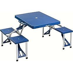 Bakaji Set Tavolo Tavolino Pieghevole PIC NIC Campeggio struttura in Alluminio con 4 Sgabelli Blu, Pieghevole a Valigetta, ideale per il Campeggio, Picnic, Mare, Spiaggia, Giardino