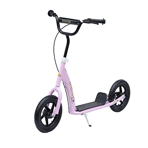 HOMCOM Tretroller Scooter 12 Zoll Cityroller Kinder Roller Bike 2 Farben (Rosa)