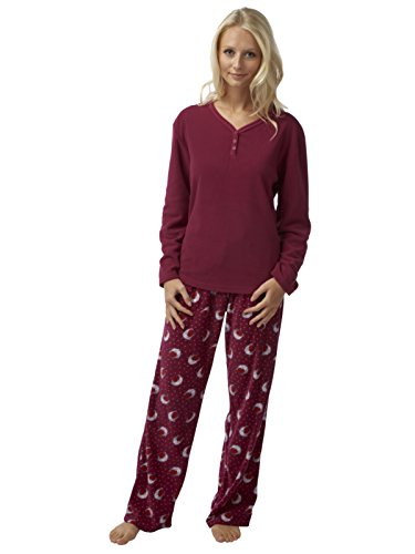ladies-robin-print-fleece-pyjama-with-print-pant-plain-top-claret-18-20-uk