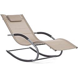 Trueshopping Lugano Rocking Patio Sun Layer Beige Textilene Tissu avec un oreiller intégral - Doux mouvement d'oscillation pour une relaxation maximale