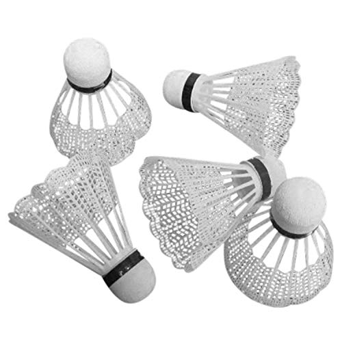 Land-Haus-Shop Badminton Bälle 5 tlg, Federball SET, 5 Stück Federbälle weiß (LHS)