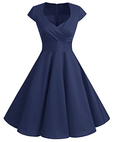 Bbonlinedress Robe Femme de Cocktail Vintage Rockabilly Robe plissée au Genou sans Manches col carré Rétro Navy M