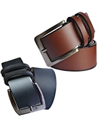 Sunshopping men's Synthetic leather black and brown needle pin point buckle belts combo(MHGFR)