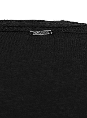 Key Largo Herren Longsleeve AQUA Einfarbig mit Brusttasche Langarm V-Ausschnitt Schwarz