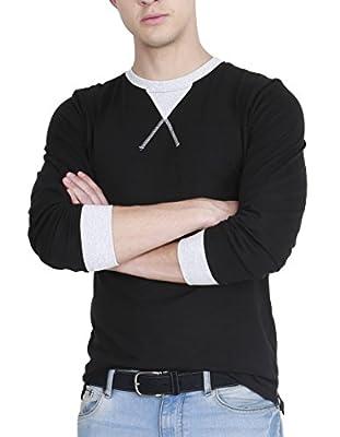 Fanideaz Men's Cotton Full Sleeve Classic Unique Neck Black T Shirt