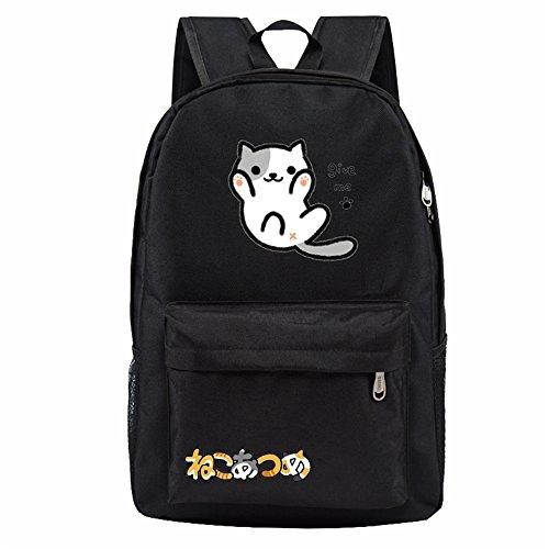 siawasey Neko atsume Anime Katze Backyard Cosplay Schultasche Daypack College Rucksack Schultasche Wear Fashion Schal